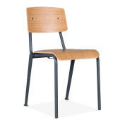 Cult Living French School Chair with Wood Finish Option - Dark Grey