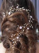 Bridalvenus Wedding Hair Vine Gold Headband Bridal Branch Crystal Wreath Bridal Vine Rose Hair Vine Gold Bridal Hair Wedding Hairstyle for Bride and Bridesmaid - 40cm