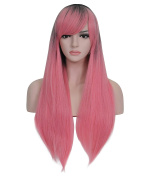 70cm Pink Wigs Straight Length Wigs for Women Dark Roots Heat Resistant Synthetic Wigs