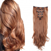 FIRSTLIKE 60cm Straight and Curly 18 Clip 8 Piece in Hair Extensions Thick Weft Full Head Hair Extensions