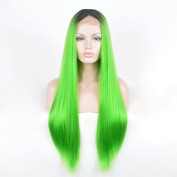 SiYi Lace Front Grass Green Wig Long Straight Ombre Dark Brown Root Synthetic Wig Heat Resistant Cosplay Pastel Full Wigs for Women Girls