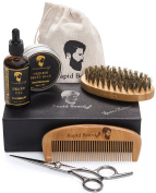 Beard Grooming & Trimming Kit for Men Care - Beard Brush, Beard Comb, Beard Oil, Beard Balm Leave-in Conditioner and Barber Trimming Scissors for Styling and Shaping Beard and Moustache Gift set