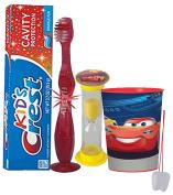 Disney Pixar Cars 3 4pc Bright Smile Oral Hygiene Set! Flashing Lights Toothbrush, Toothpaste, Brushing Timer & Mouthwash Rise Cup! Featuring Ligthning McQueen & Cruz Ramirez!