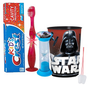 "Star Wars Darth Vader Inspired Boys 4pc Bright Smile Oral Hygiene Set! Flashing Lights Toothbrush, Toothpaste, Brushing Timer & Mouthwash Rise Cup! Plus Bonus ""Remember to Brush"" Visual Aid!"