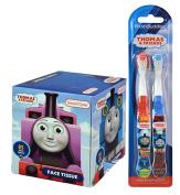 Thomas The Train Kids 2pk Soft Manual Toothbrush Set Plus Bonus Thomas & Friends Bathroom Tissue Box!