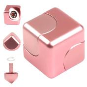 JZH Metal Aluminium Infinity Cube Fidget Hand Spinner Finger Spin Toys, Removable Finger Gyro Rubik Cube Naughty toys.