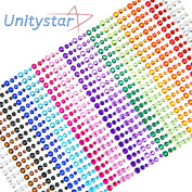Face Gems, UnityStar 900 PCS Self-adhesive Rhinestone Stickers Sheets Embellishments for Crafts Body Nail Makeup Festival Carnival 3mm 4mm 5mm with 15 Colours