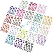 Gem Stickers, UnityStar 3300 PCS Self-adhesive Rhinestone Sticker Sheets in 20 Assorted Colours & 3 Sizes for Face, Body, Makeup, Festival, Carnival, Crafts & Embellishments