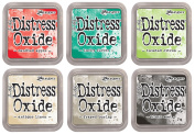 Ranger Tim Holtz Distress Oxide Ink Pads - Candied Apple, Lucky Clover, Twisted Citron, Antique Linen, Frayed Burlap and Black Soot - 6 Ink Pad Set Released June 2017