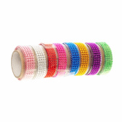 Officeship 5 Rolls Acrylic Rhinestone Lace Self Adhesive Tapes for Gift Wrapping Decoration-Assorted