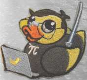 """Custom and Unique (7.6cm x 6.9cm Inch) """"Technology"""" Funny Techie Nerdy Rubber Ducky w/ Laptop Iron On Embroidered Applique Patch {Yellow, Orange, Black, & Grey Colours}"""