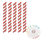 MagiDeal 50 Pieces Plastic Sewing Clips Wonder Clips with Head Scarf Pins Wheel for Sewing Dressmaking Crafts