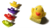 4 Baby bath boats, Rubber Duck with matching wash Cloth BUNDLE