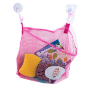 Lalang Baby Bath Time Toys Storage Mesh Bags Bathroom Organiser Hanging Suction Bag Pink