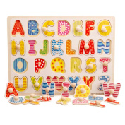OneCreation Wooden Puzzle Cognitive Board Hand Grasping Board (Capital Letter / Majuscule) 1-6 Years Old Puzzle Toy