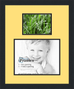 ArtToFrames Collage Photo Frame Double Mat with 1 - 8.5x11^ 5x7 Openings and Satin Black Frame