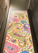 Rubber Backed 60cm x 3m Paisley Floral Multicolor Long Runner Non-Slip Rug - Rana Collection Kitchen Dining Living Hallway Bathroom Pet Entry Rugs RAN2019-210