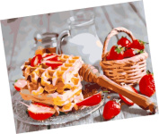 Wowdecor Paint by Numbers Kits for Adults Kids, Number Painting - Delicious Dessert Cake and Strawberry 41cm x 50cm