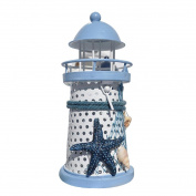 YRD TECH Mediterranean Lighthouse Iron Candle Candlestick Blue White Home Table Decor NEW
