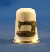 Porcelain China Collectable Thimble - Vintage Vesta Sewing Machine -- Free Gift Box