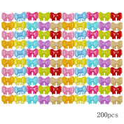 Monique 200 PCS Cute Colourful Bow Plastic Buttons Sewing Fasteners Buttons Arts Decoration Buttons