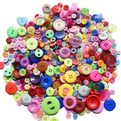 600 Pieces 2 and 4 Holes Assorted Colour Resin Buttons for Arts, Crafts, Sewing and Decoration, 310ml