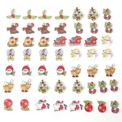 Christmas Cartoon Buttons, 100pcs Mixed Wooden Buttons with 2 Holes Fit Sewing Christmas Craft