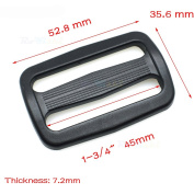 "10pcs 1-3/4"" Plastic Curve Slider Tri-Glide Adjust Buckles Backpack Straps Black Webbing 45mm"