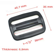 "12pcs 1-1/2"" Plastic Curve Slider Tri-Glide Adjust Buckles Backpack Straps Black Webbing 38mm"
