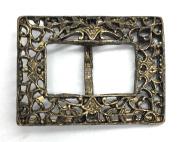 Designer Belt Filigure Buckle Slider for Women Plated Antique Gold 3.2cm - 3.8cm Inch