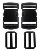 Plastic Side Release Buckle 3.8cm Webbing Strap Clasp Black Pack of 2