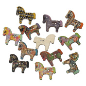 100PCs 2 Holes Horse Shaped Wood Sewing Buttons Scrapbooking 3x2.5cm