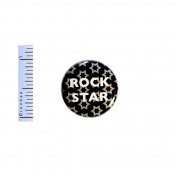 Rock Star Button Stars Black Grey White Rock And Roll Geekery Backpack Pin 2.5cm