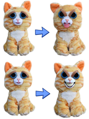 Feisty Pets Expressions: Silly & Grin Duo- Princess Pottymouth 20cm Plush Stuffed Cat That Switches her Expressions With a Squeeze