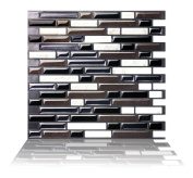 Tic Tac Tile Mosaic Peel and Stick Wall Tile in Como Black