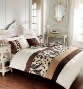 Gaveno Cavalia Signature Collection Scroll Duvet Set with Duvet Cover And Pillow Case Super King, Chocolate