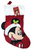 Disney Mickey Mouse Big Face 46cm Velour Christmas Stocking with Soft Cuff by Disney