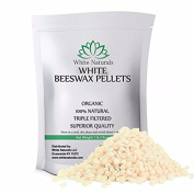 Organic White Beeswax Pellets 0.5kg (470ml), Pure, Natural, Cosmetic Grade, Top Quality Bees Wax Pastilles, Triple Filtered, Great For DIY Lip Balms, Lotions, Candles By White Naturals