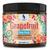 Medium - 240ml GRAPEFRUIT Dead Sea Salt Body Scrub, Excellent Exfoliating Body Scrub - 100% Pure Sea Salt Scrub, Excellent Hydrating, Exfoliation & Moisturising Properties