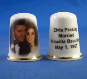 Porcelain China Collectable Thimble - Elvis Presley & Priscilla Married -- Free Gift Box