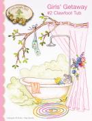 Girls' Getaway #2 Clawfoot Tub Embroidery Pattern by Meg Hawkey From Crabapple Hill Studio #6490cm - 17cm x 22cm