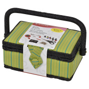 Singer Pin Stripes Sewing Basket with Notions, Green