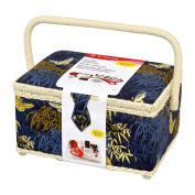Singer Field in Flight Sewing Basket with Notions, Blue