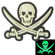 Calico Jack Skull Pirate Jolly Roger Morale Tactical ISAF PVC Rubber 3D Touch Fastener Patch