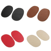 Jili Online 4 Pairs Assorted Colour Pu Leather Sew on Elbow/Knee Patches DIY Repair Decor Appliques