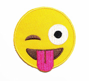 HHO Emoji Sticking out tongue Cheeky Playful Smile Face Cartoon Kid Patch Embroidered DIY Patches, Cute Applique Sew Iron on Kids Craft Patch for Bags Jackets Jeans Clothes