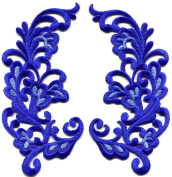 6.4cm x 12cm Royal blue trim fringe retro boho granny chic sew sewing embellishment embroidered appliques iron-on patches