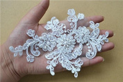 Ivory Beaded Bridal Sewing Lace Appliques Embroidery Flower Applique Wedding Motif Pair Patches