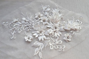 Exquisite Flower Sewing Lace Applique 3D Appliques with Crystal Beaded Wedding Patch Lace Motif 3 colours option