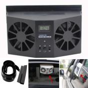 GBSELL Solar Powered Car Window Air Vent Ventilator Mini Air Conditioner Cool Fan Black